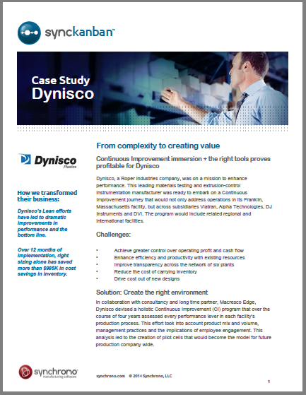 ekanban customer Dynisco