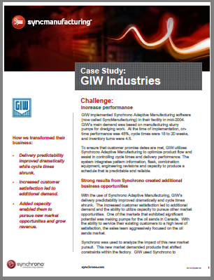 demand-driven manufacturing at GIW