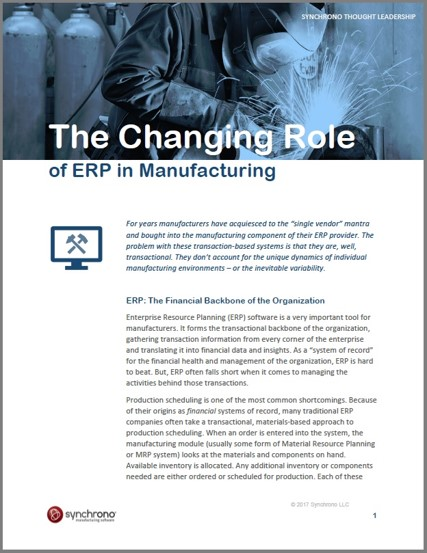 The Changing Role of ERP in Manufacturing