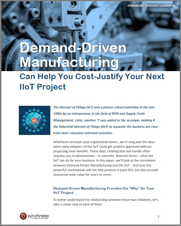 The IIoT and demand driven manufacturing